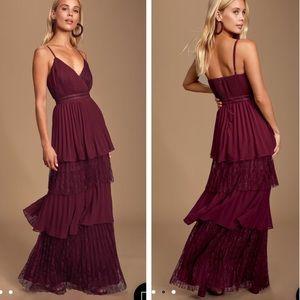 NWT Lulu's Date With A Daydream Burgundy dress XL